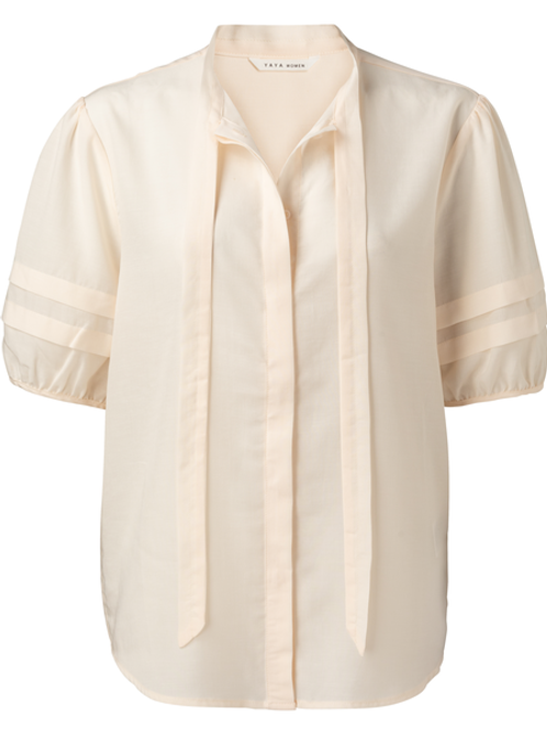 Linen mix blouse with bow and sleeve detail