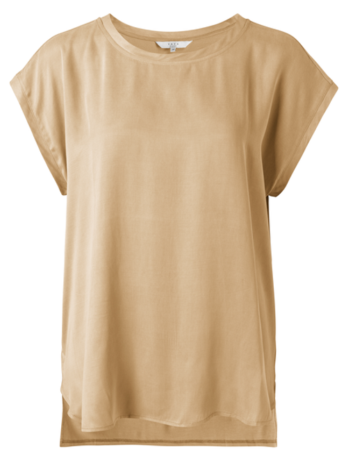 Fabric mix top with round neck