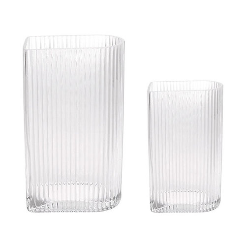 Vase clear ribbed