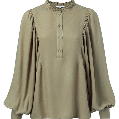 Woven blouse with puff sleeves