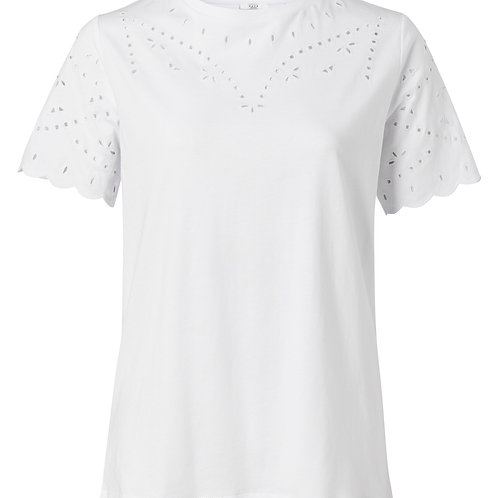 Cotton T-Shirt with broderie anglaise