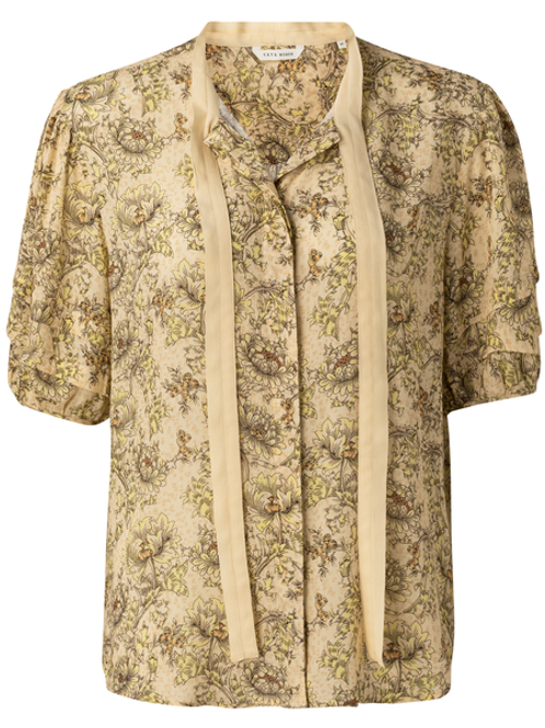 Blouse with contrast bow and sleeve detail