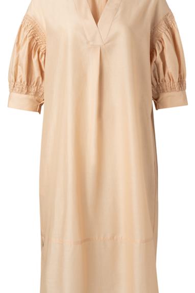 Kaftan dress with smocked puff sleeves