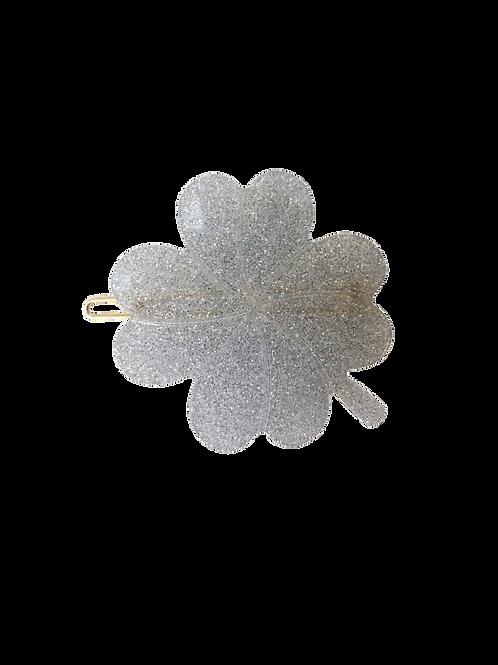 Haarspange Kleeblatt Silver Glitter