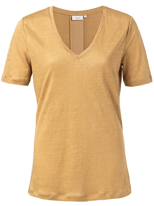 T-Shirt aus Leinen mit V-Ausschnitt und Satinleiste hinten