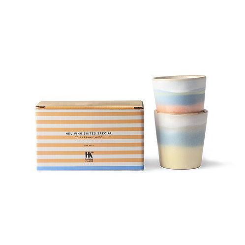 HKliving suites special: ceramic 70's mugs horizon 2er Set
