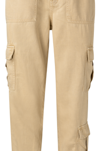 Lyocel blend cargo trousers with elastic cuffs