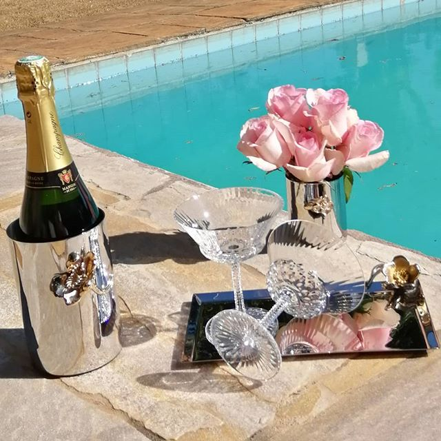Champagne at pool