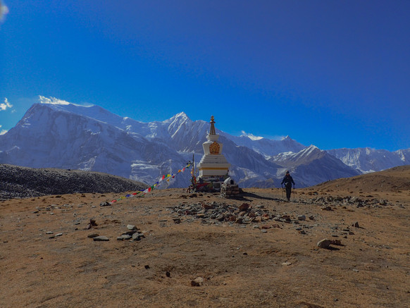 Hiking the Annapurna Circuit Trail in Nepal. Day 5, from Bhraga (3450m) to the Ice Lakes (4600)