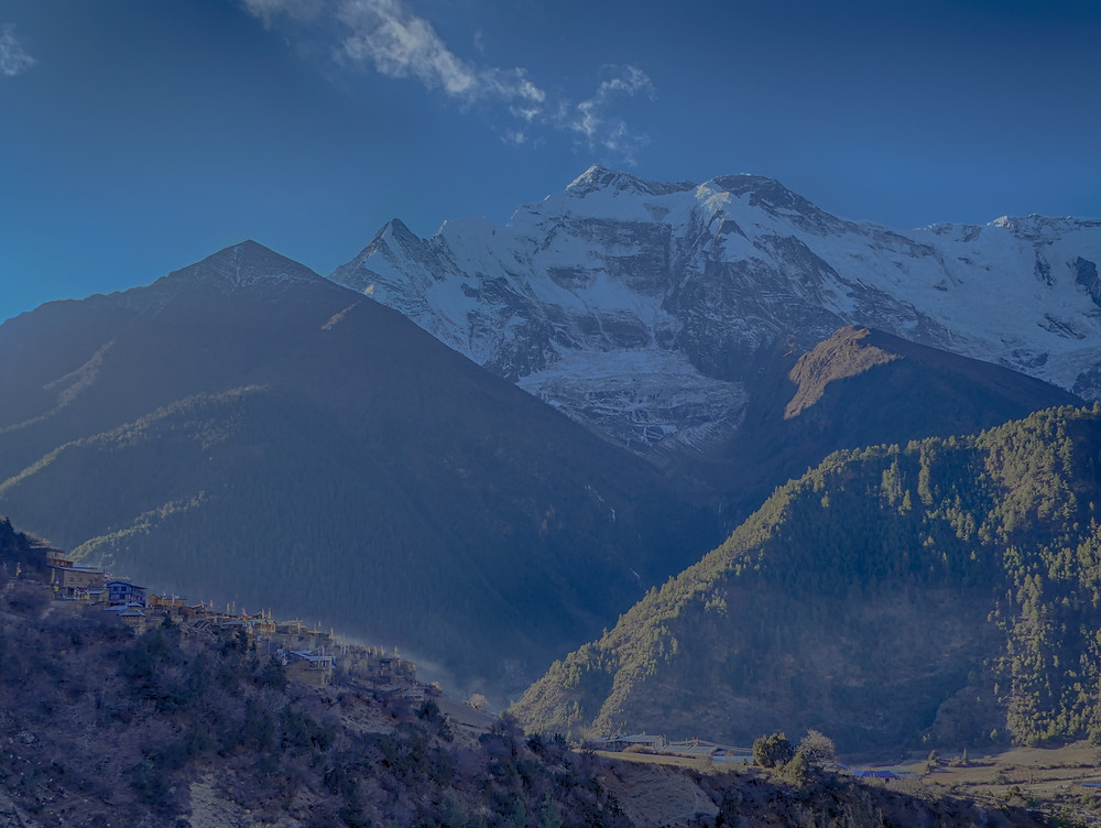 Hiking the Annapurna Circuit Trail in Nepal. Day 4, from Upper Pisang (3300m) to Bhraga (3450m).