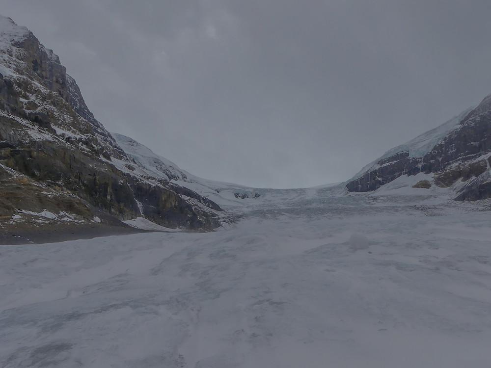 The tourist trap of Athabasca glacier in Alberta, Canada.