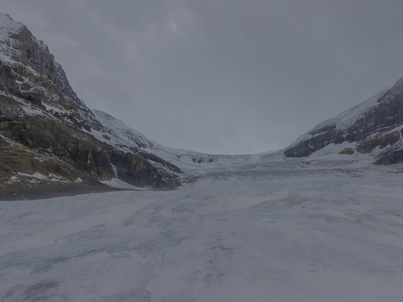 Touching Athabasca Glacier in Alberta, Canada
