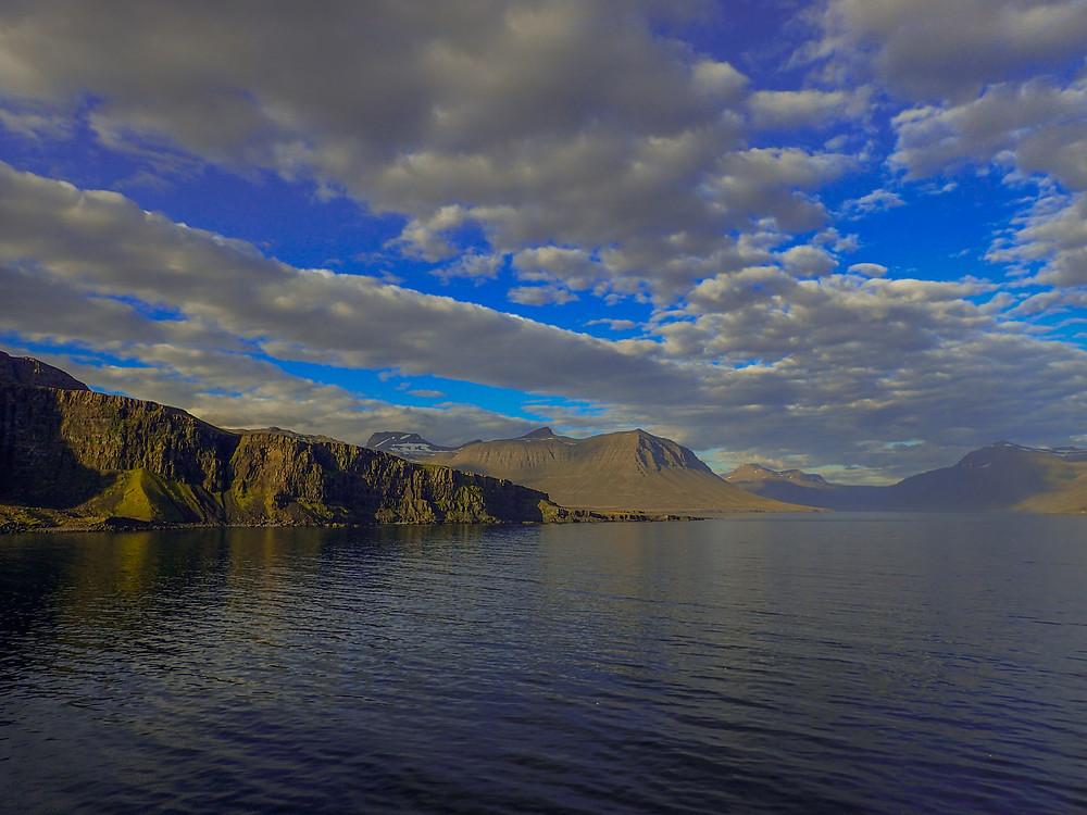 Sailing in to Seyðisfjörður, Iceland with Smyril Line.