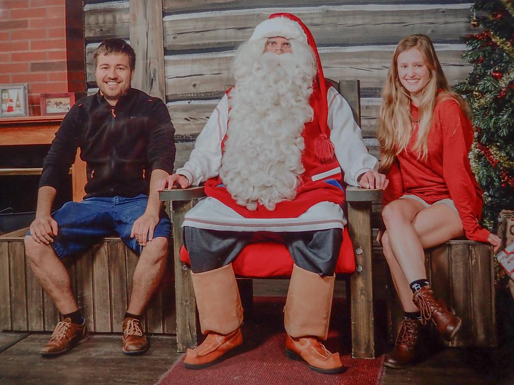 Meeting Santa Claus in Rovaniemi, Lapland, Finland.