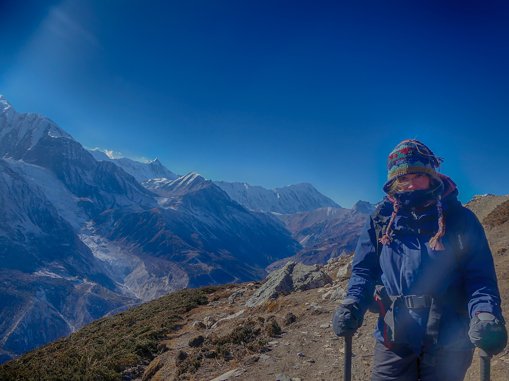 Hiking the Annapurna Circuit Trail in Nepal. Day 5, from Bhraga (3450m) to the Ice Lakes (4600).