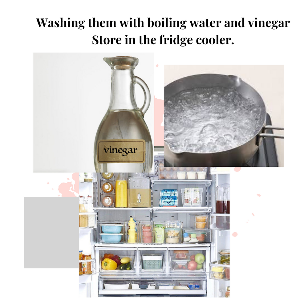 washing straws with boiling water and vinegar store in the fridge