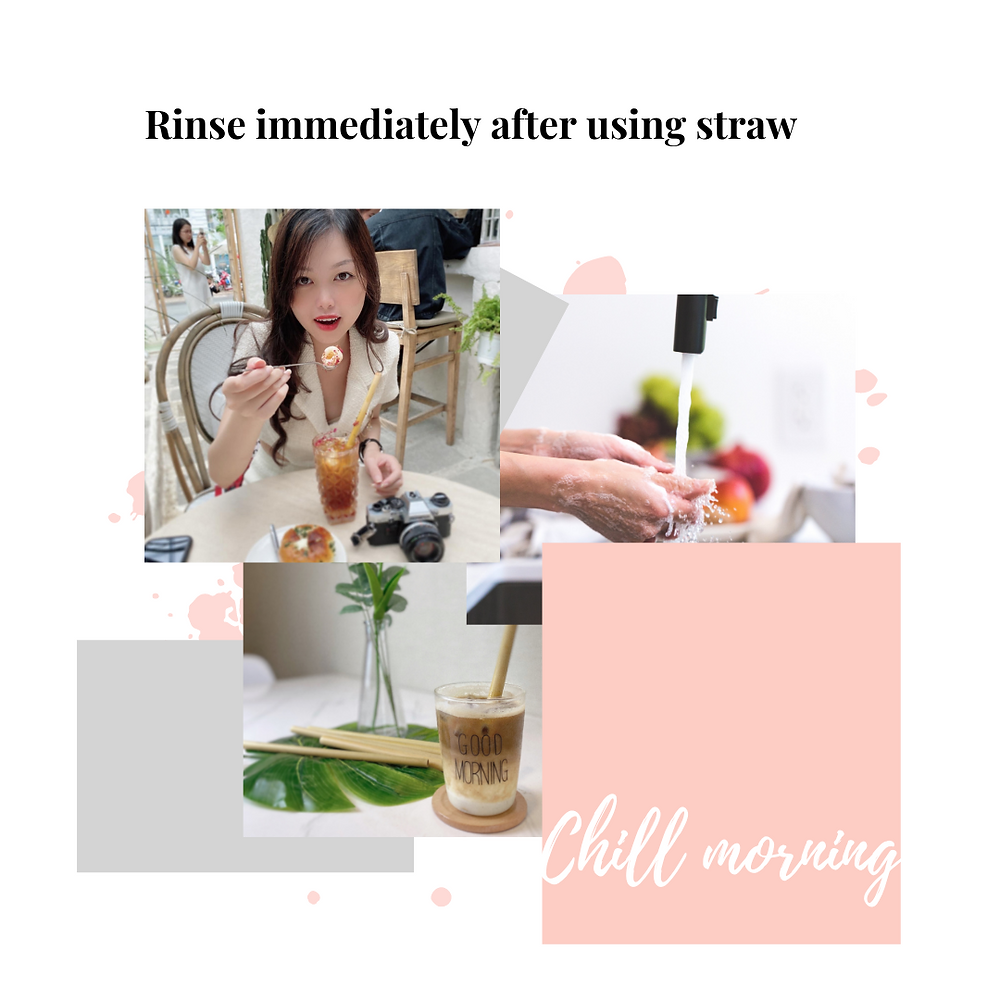 rinse immediately after using bamboo straw