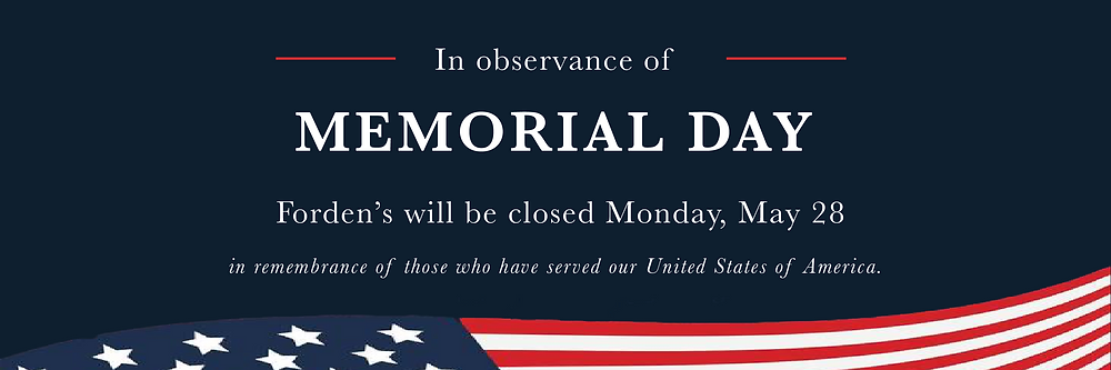 fordens closed observance memorial day