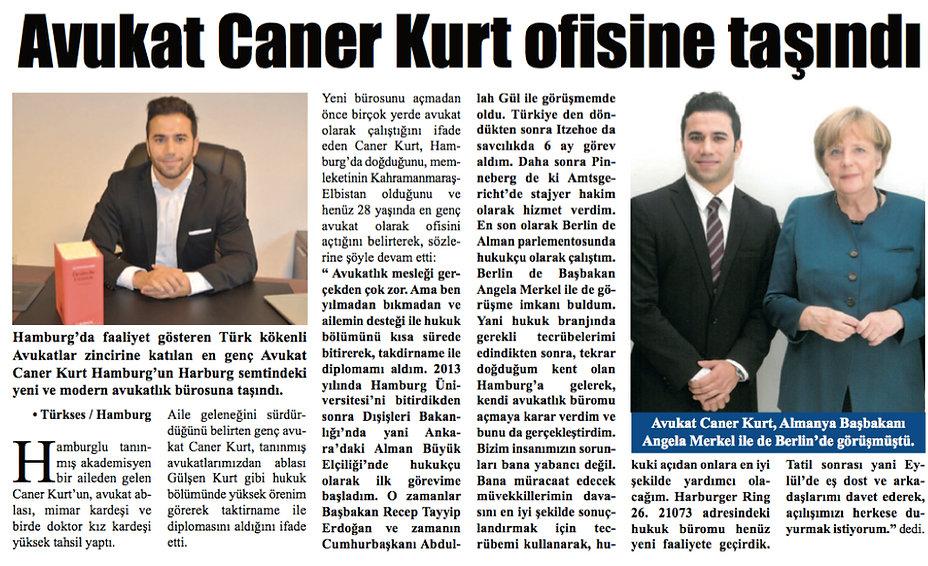Caner Kurt Türkses Hamburg Zeitungsartikel. Avukat Caner Kurt ofisine tasindi.Hamburg Harburg