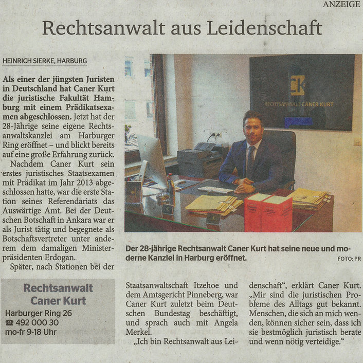 Rechtsanwalt Caner Kurt Rechtsanwalt aus Leidenschaft Zeitungsartikel Elbe Wochenblatt. Neue moderne Kanzlei in Harburg.