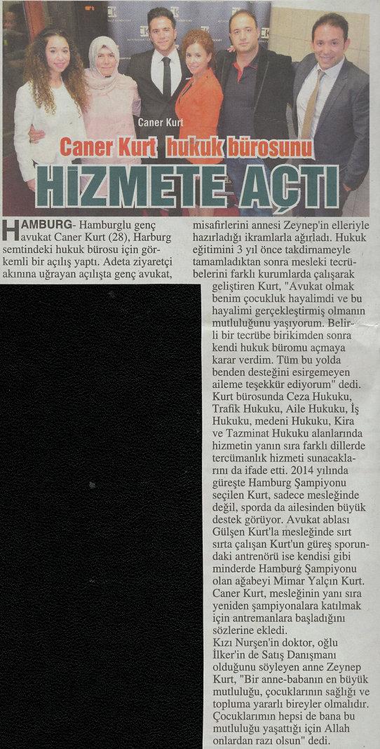 Zeitungsartikel Rechtsanwalt Caner Kurt Post Gazetesi Hamburg. Hamburg Harburg Hukuk Bürosu.