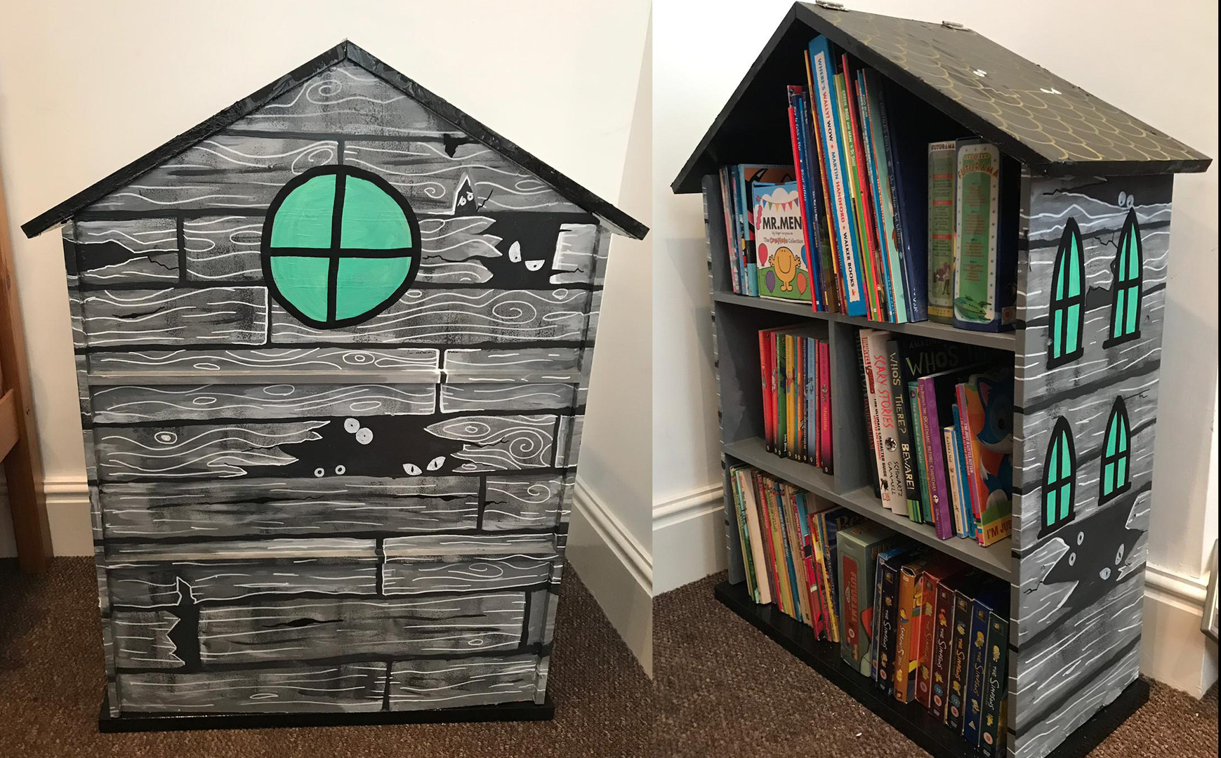 Haunted house book case