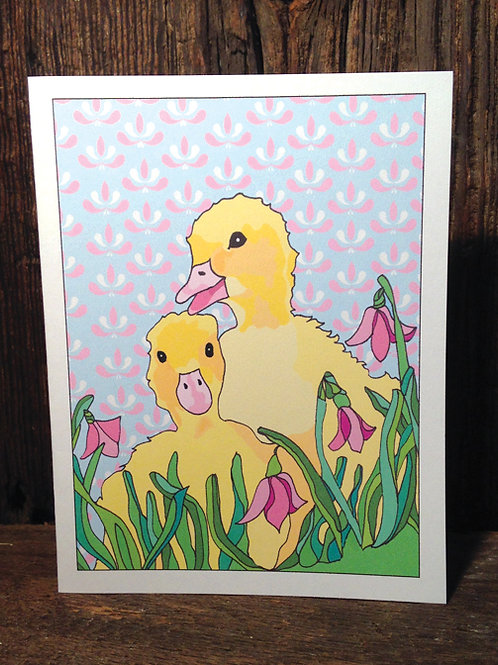 """Duckling Love"" Greeting Card"