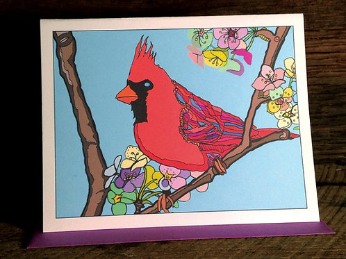 """Cardinal Love"" Greeting Card"