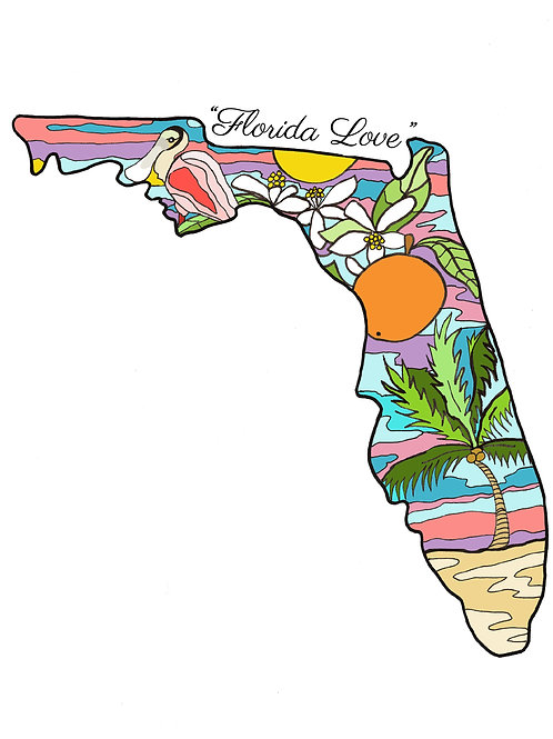 """Florida Love"" Unframed Print - 8 x 10 inch"