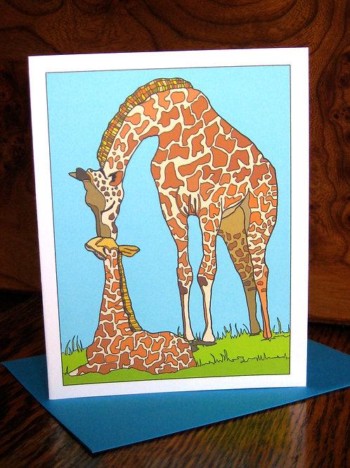 """Giraffe Love"" Greeting Card"
