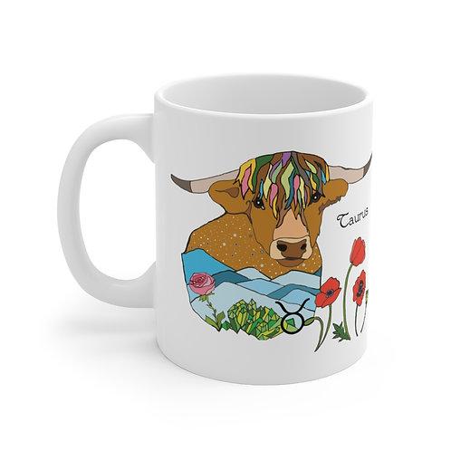 """""""Taurus LOVE"""" - White Ceramic Mug"""