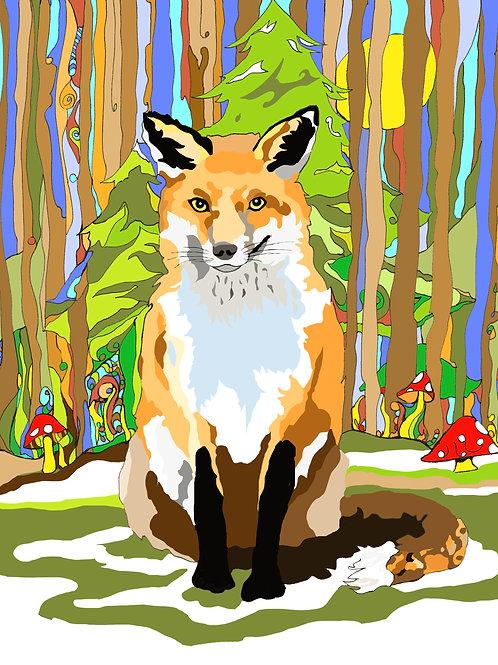"""Fox Love"" 8 x 10 inch Unframed Print"