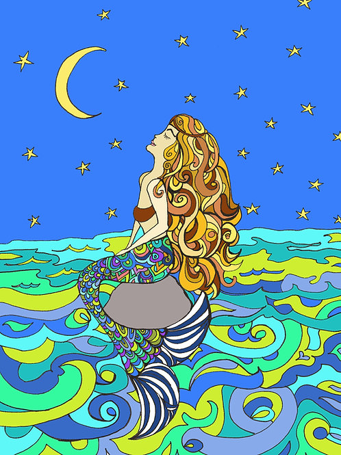 """Mermaid Love"" 8 x 10 inch Unframed Print"