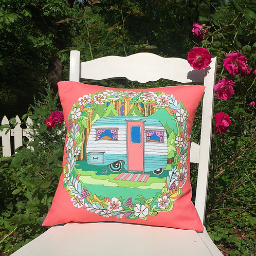 """Happy Camper"" Handmade Pillow"