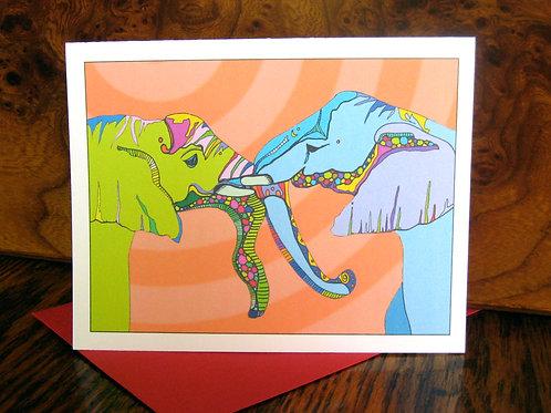 """Elephant Love"" Greeting Card"