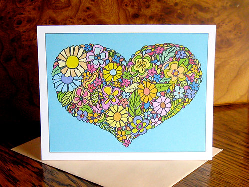 """Flower Heart Love"" Greeting Card"