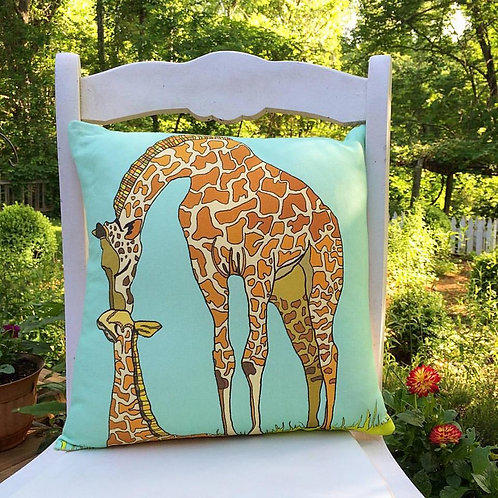 """Giraffe Love"" Designer Pillow"