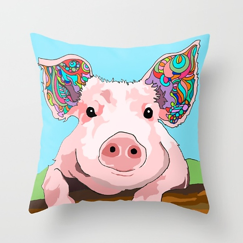 """Pig Love"" Designer Pillow - 18 x 18 inches"