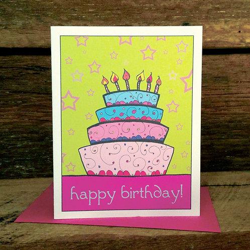 """Birthday Cake Love"" Greeting Card - Happy Valen"