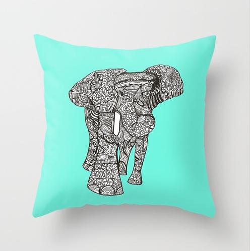 """Wild Elephant Love"" Designer Pillow - 18 x 18"