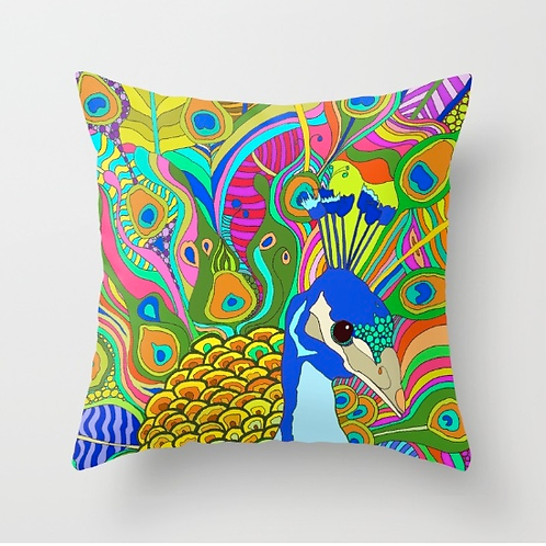 """Peacock Love"" Designer Pillow 18 x 18 inch"