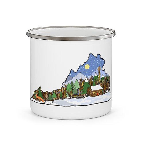 "Enamel Camping Mug ""Winter in Virginia"""