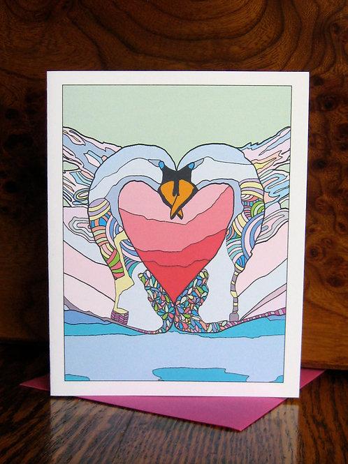 """Swan Love"" Greeting Card"