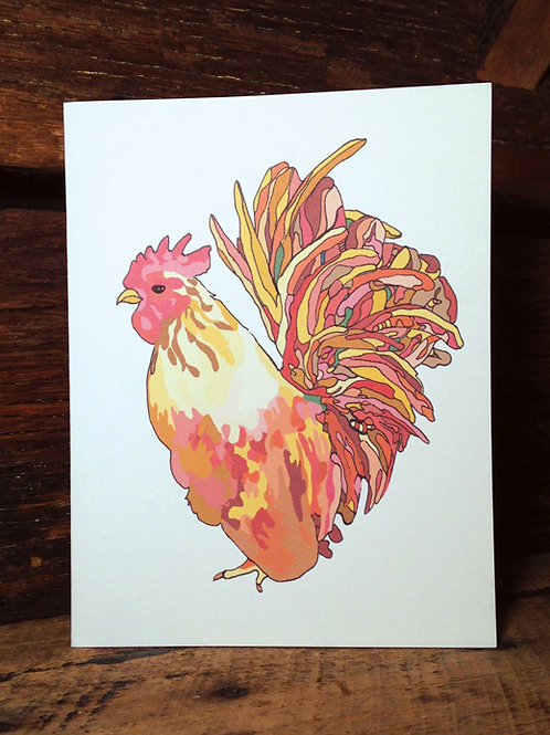 """Rooster Love"" Greeting Card"