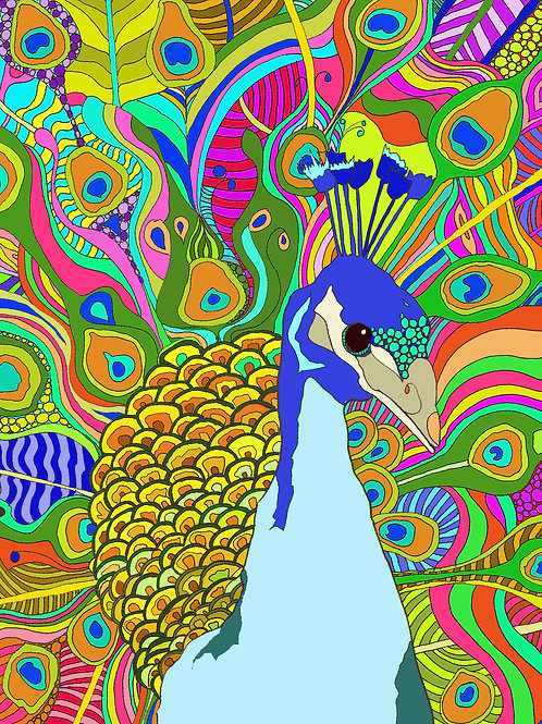 """Peacock Love"" PRINT"