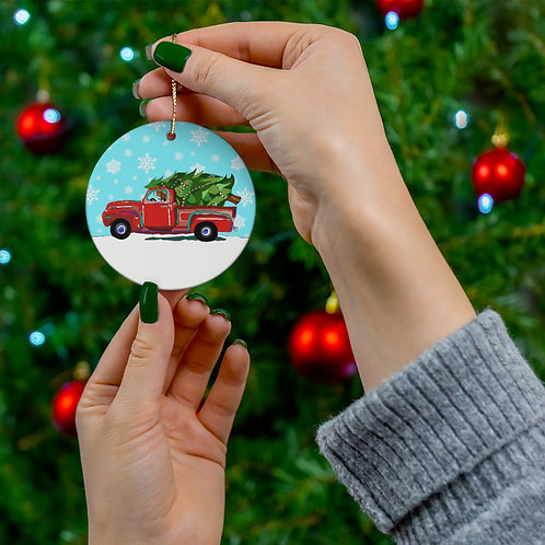 """Holiday Hound"" Round Ceramic Ornaments"