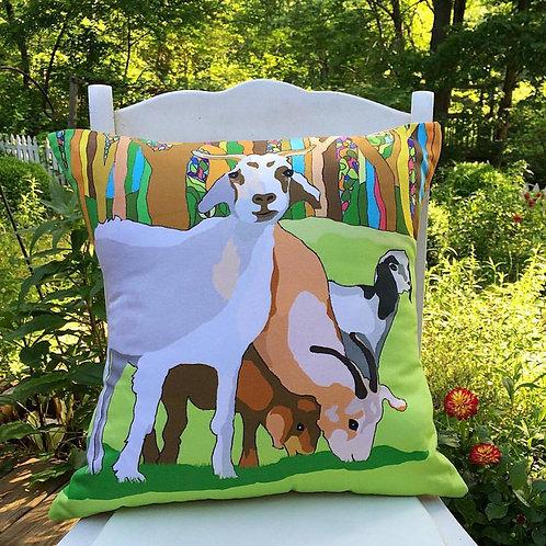 """""""Goat Love"""" - Handmade Designer Pillow"""