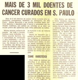 Mais de 3 mil doentes de câncer curados em S. Paulo