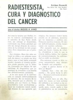 Radiestesia, cura y diagnostico del cancer
