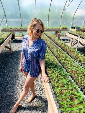 Rebecca Zacccard gazes lovingly at the rows of Hawaiian Haze CBD seedlings